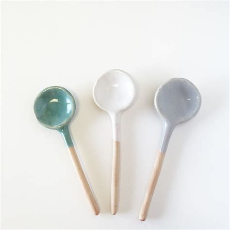 Handmade Spoon - ceramic spoon trio of small spoon serving home decor handmade