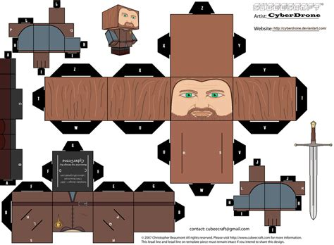 Papercraft Props - cubee ned stark by cyberdrone deviantart on