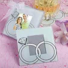 Wedding Souvenir Ring With Photo Coaster Wj44 1 glass and wedding favours and gifts for guests simply wedding favours
