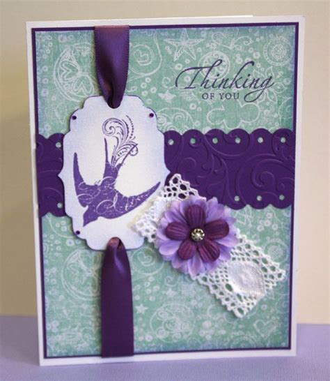 Thinking Of You Handmade Cards - thinking of you card handmade card purple and green
