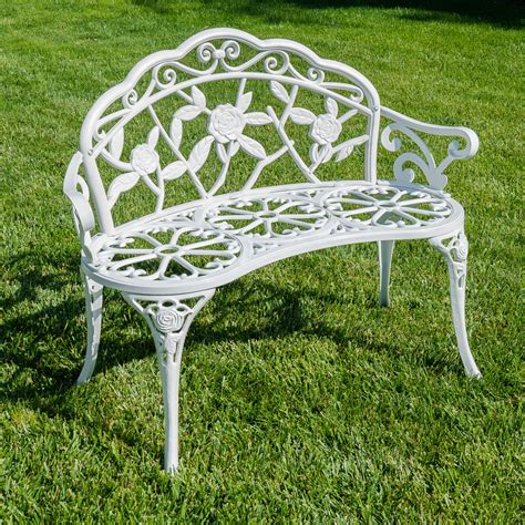 aluminum outdoor benches 39 quot white antique style patio porch garden bench aluminum