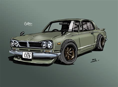 nissan skyline drawing drawing and painting 1971 nissan skyline gt r aka