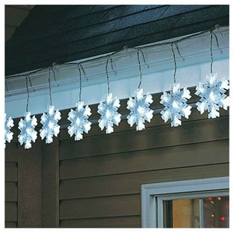 outdoor snowflake lights string sylvania v79178 8 function snowflake led 10 lights cool white ebay