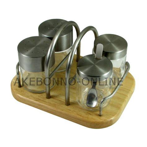 Tempat Garam Lada Kayu peralatan makan akebonno condiment set md6
