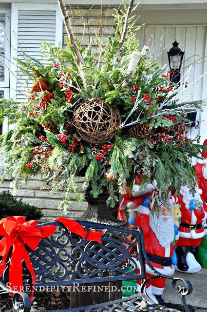 christmas decorating huge stone urns in front of entrance 12 best images about urns by serendipity refined on serendipity lavender roses and