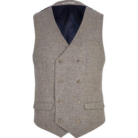 light brown vest womens river island light brown tweed breasted vest in