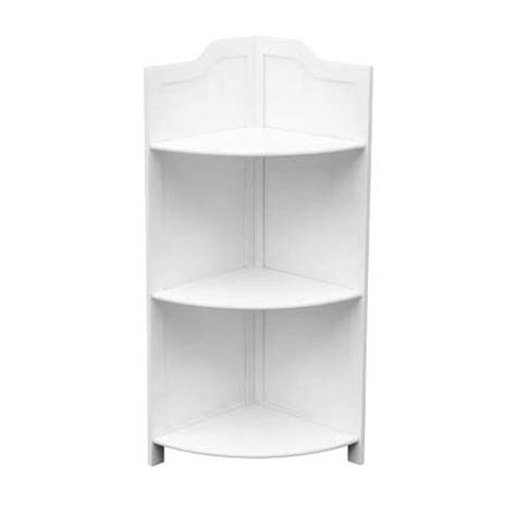 White Wood Corner Shelf by 3 Tier White Wood Floorstanding Corner Shelf Unit