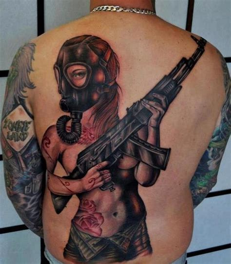 tattoo girl with mask gas mask back pin up tattoo benjamin laukis the best