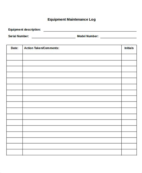 maintenance log template 13 log templates free sle exle format free