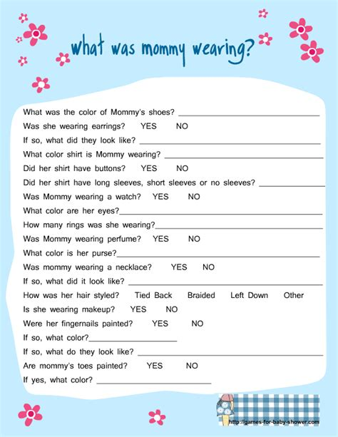 Free girl baby shower games