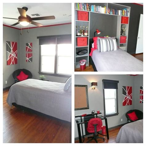 gray black and red bedroom color scheme red black and grey teen bedroom trim and accent wall