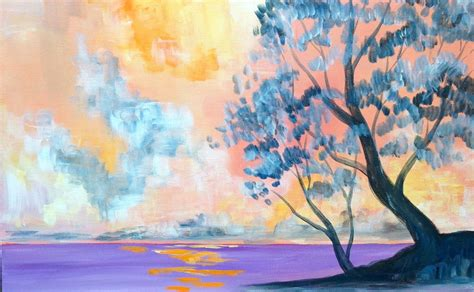 acrylic paint artwork easy acrylic painting lesson morning lake the