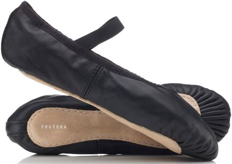 black leather ballet shoes by provora for boys and