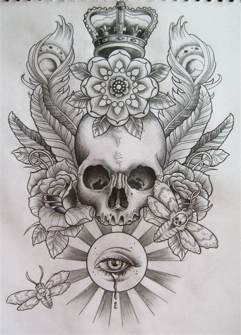 beautiful skull tattoo pencil sketch with soft shading