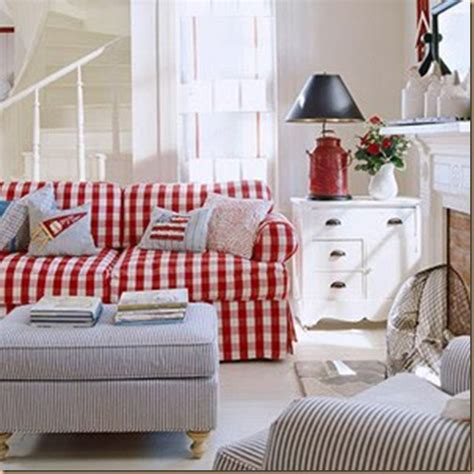 red and white checkered sofa american cottage style sheri martin interiors
