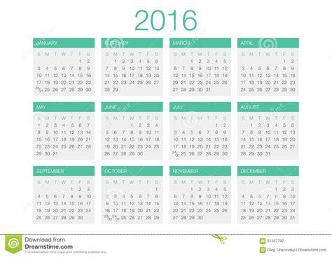 calendar vector template 2016 stock vector image 61557792