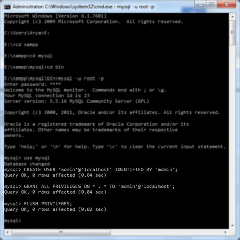 membuat database mysql di command prompt membuat user di database mysql