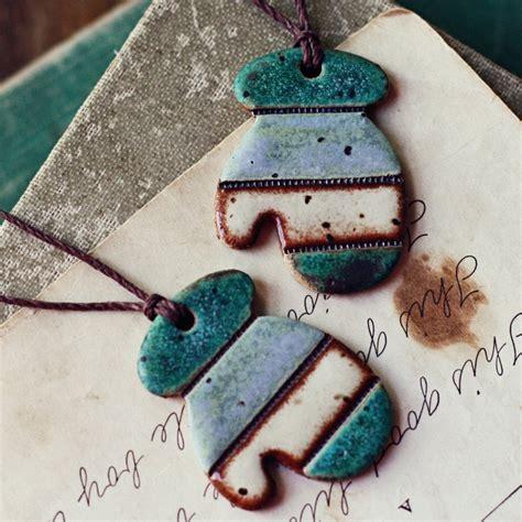 sale earthy mittens handmade ceramic christmas ornaments