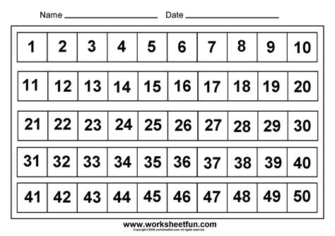 template of numbers 1 50 numbers assessments number chart 1 50 numbers 1 50