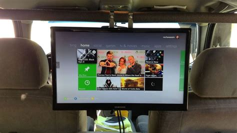 bid up tv a big tv in the back of a car turns the 360 into a