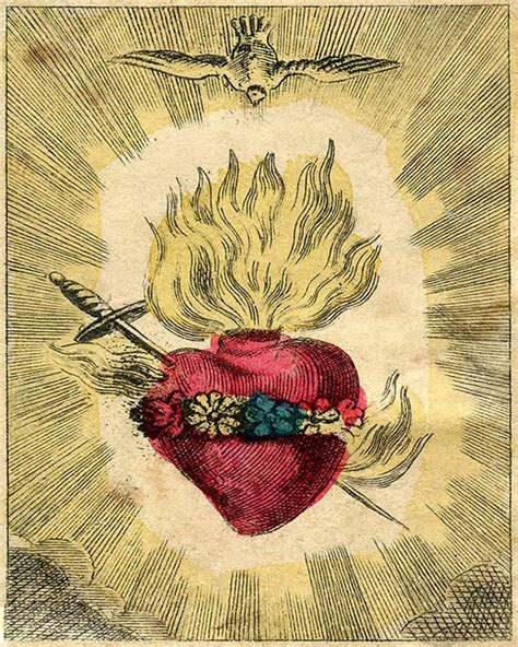 vintage sacred heart print the immaculate heart of