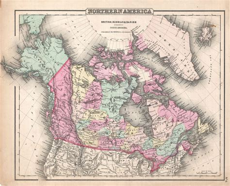 map of usa canada and alaska 1857 map of canada russian alaska and greenland