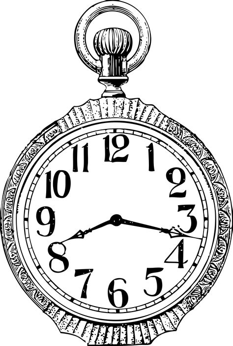 Old Vintage Pocket Watch Drawing Sketch Coloring Page sketch template