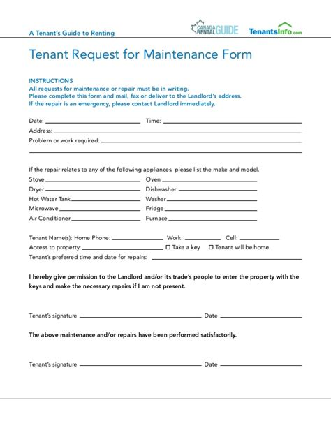 Request Letter To Fill Up Form Canada Rental Guide Canadian Tenants Guide July 2013