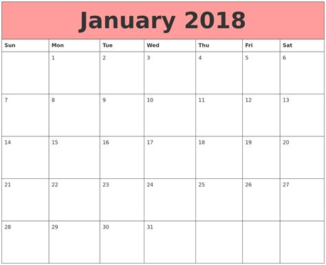 Calendar 2018 Jan June January 2018 Calendars That Work