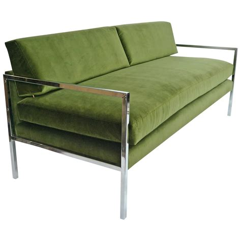 milo baughman chrome and green velvet sofa for sale at 1stdibs
