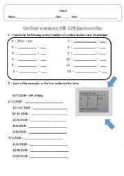 Ordinal Home 12 by Worksheets Ordinal Number Till 12