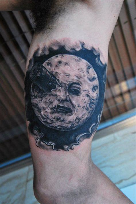 black and grey moon tattoo unique black and grey moon tattoo on left bicep