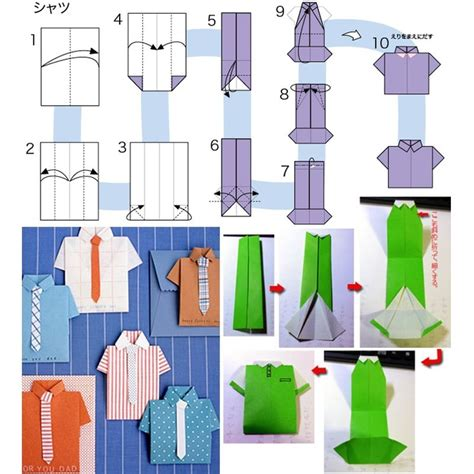 How To Make A Origami Shirt - origami shirt pattern cards masculine