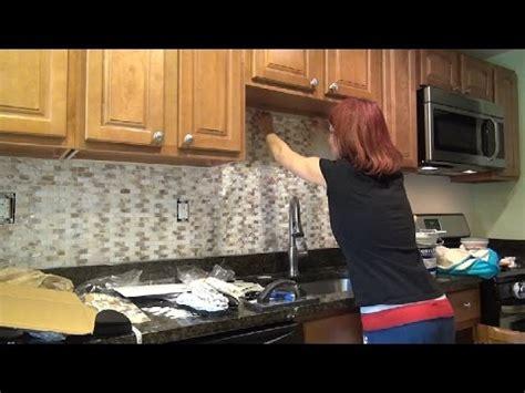 detailed how to diy backsplash tile installation youtube tile diy kitchen backsplash installation mother of pearl