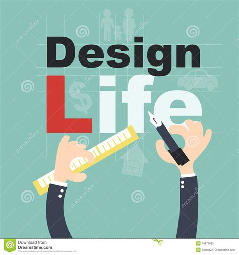 Design Is A Lifestyle | design your life plan life concept stock illustration