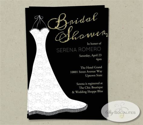 black and gold bridal shower invitations gold wedding wedding dress bridal shower invitation