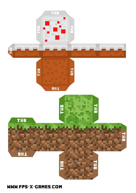cut out character template minecraft printable grass and cake block
