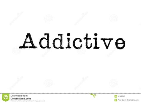 The Word the word addictive from a typewriter on white stock