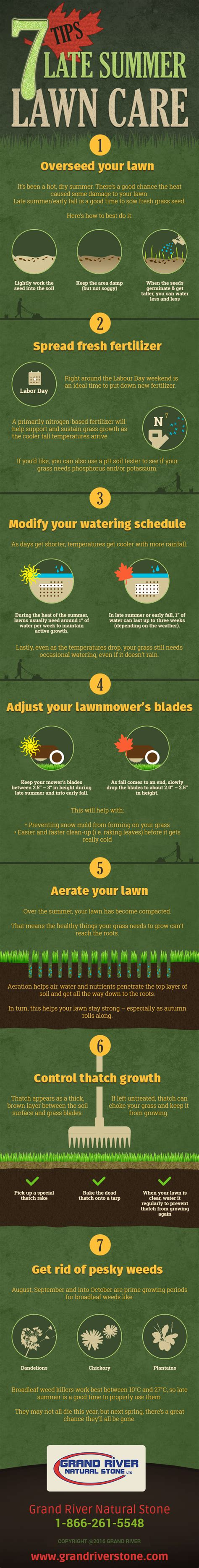 summer lawn care tips 7 late summer lawn care tips infographic grand river