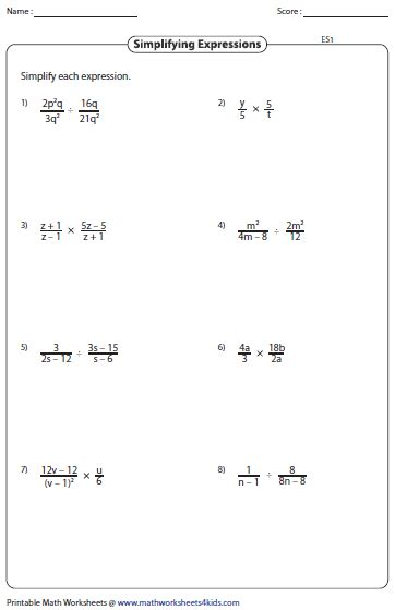 Simplifying Equations Worksheets by Simplifying Algebraic Expression Worksheets