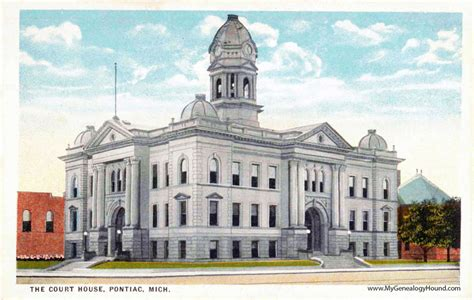 Oakland County Civil Search Pontiac Michigan Oakland County Court House Vintage Postcard Photo