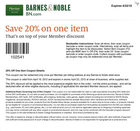 Barnes And Noble Membership Coupons barnes noble 20 one item works with member discount