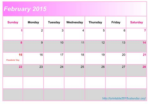 february calendar template 2015 february 2015 calendar printable 2015 calendar chainimage