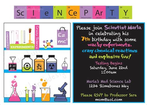 Mad Science Birthday Party Invitations Drevio Invitations Design Free Science Birthday Invitation Templates