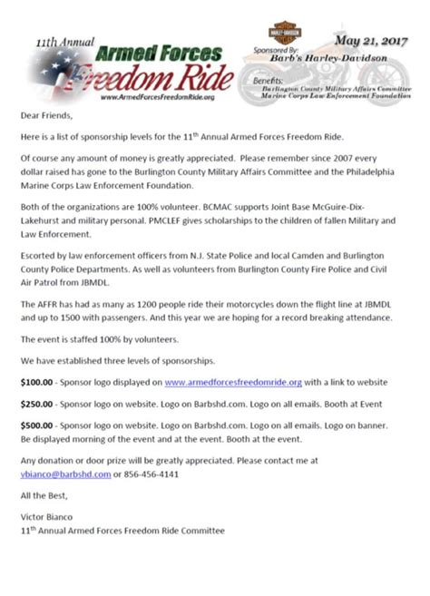 Sponsorship Letter Army Sponsorship Armed Forces Freedom Ride