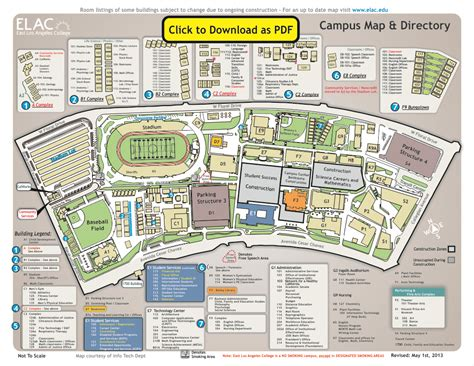 elac map east los angeles college cus map parking