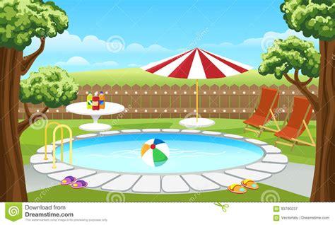 backyard cartoon backyard pool with fence and parasol stock vector