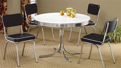 retro dining room sets 2388 retro chrome round retro dining room set from coaster