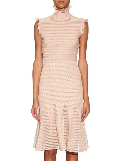 light pink metallic dress lyst alexander mcqueen ruffle neck silk blend dress in pink