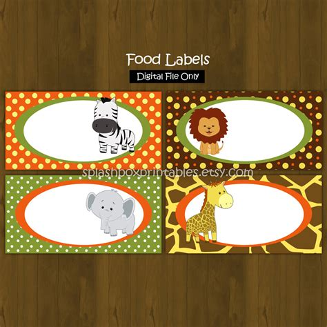 printable zoo animal name tags safari zoo jungle printable food labels by splashboxprintables
